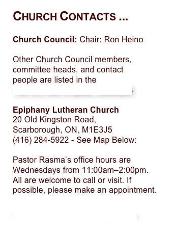 Church Contacts ...